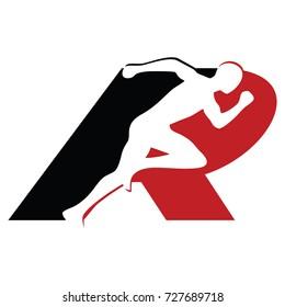 initial Letter R,Running and Marathon Logo Vector