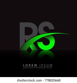 initial letter RS logotype company name colored green and black swoosh design. vector logo for business and company identity.