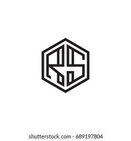 Initial letter RS, minimalist line art monogram hexagon logo, black color