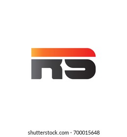 Initial letter RS, straight linked line bold logo, gradient fire red black colors