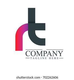 Initial Letter RT Linked Design Logo