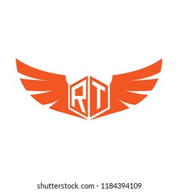 Initial Letter RT Logo Design with Wings