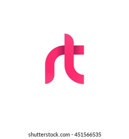 initial letter rt modern linked circle round lowercase logo pink