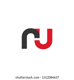 Initial Letter RU Linked Circle Lowercase Logo Black Red Icon Design Template Element - Vector