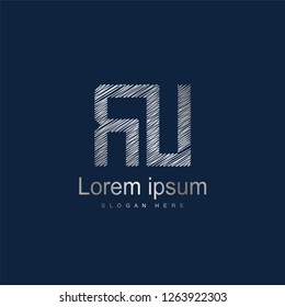 Initial Letter RU Logo Template Vector Design. Silver letter logo