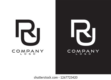 Initial Letter ru Logo Template Vector Design with black and white background