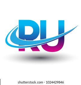 initial letter RU logotype company name colored blue and magenta swoosh design. vector logo for business and company identity.