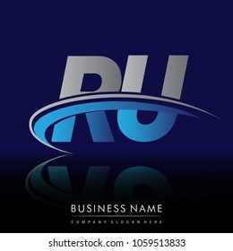 initial letter RU logotype company name colored blue and grey swoosh design. vector logo for business and company identity.