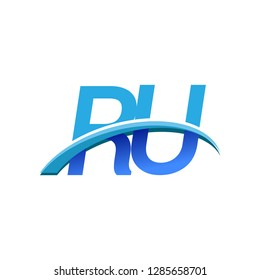 initial letter RU logotype company name colored blue and swoosh design. vector logo for business and company identity.