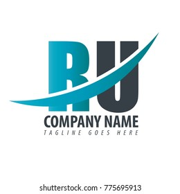 Initial Letter RU Overlapping Logo
