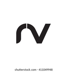initial letter rv linked round lowercase monogram logo black