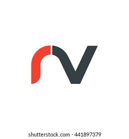 initial letter rv linked round lowercase logo red