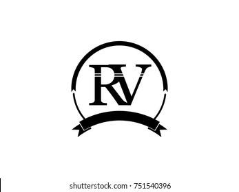 initial letter RV logo monogram retro black