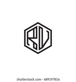 Initial letter RV, minimalist line art monogram hexagon logo, black color