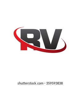 initial letter RV swoosh ring company logo red black