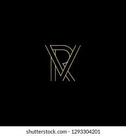 Initial letter RV VR minimal monogram art logo, gold color on black background.