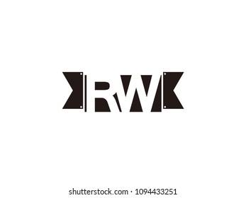 Initial letter rw black ribbon logo design
