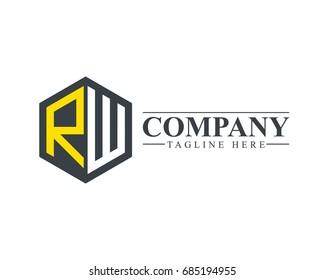 Initial Letter RW Hexagonal Design Logo