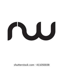initial letter rw linked round lowercase monogram logo black