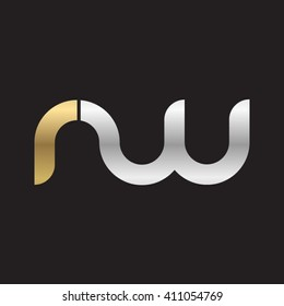 initial letter rw linked round lowercase logo gold silver black background