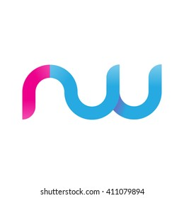 initial letter rw linked round lowercase logo pink blue