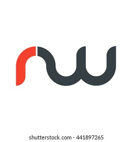 initial letter rw linked round lowercase logo red