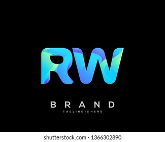 Initial letter RW logo with colorful background, letter combination logo design for creative industry, web, business and company. - Vector