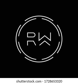 Initial Letter RW Logo Creative Typography Vector Template. Digital Abstract Letter RW Logo Design