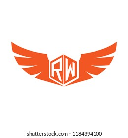 Initial Letter RW Logo Design with Wings