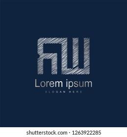 Initial Letter RW Logo Template Vector Design. Silver letter logo
