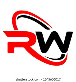 Initial letter RW logo template abstract design with red and black color for company identity