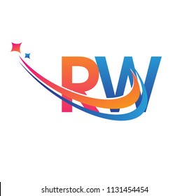 initial letter RW logotype company name colored orange, red and blue swoosh star design. vector logo for business and company identity.