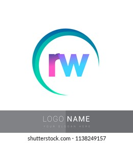 initial letter RW logotype company name, coloreful and swoosh design. vector logo for business and company identity.