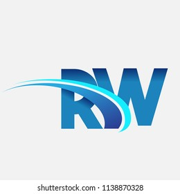 initial letter RW logotype company name colored blue and swoosh design. vector logo for business and company identity.
