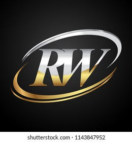 initial letter RW logotype company name colored gold and silver swoosh design. isolated on black background.