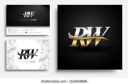 initial letter RW logotype company name colored gold and silver swoosh design. Vector sets for business identity on white background.