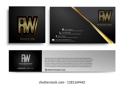 initial letter RW logotype company name colored gold elegant design. Vector sets for business identity on black background.