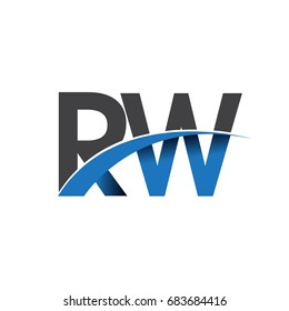 initial letter RW logotype company name colored blue and grey swoosh design. vector logo for business and company identity.