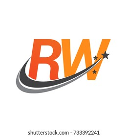 initial letter RW logotype company name colored orange and grey swoosh star design. vector logo for business and company identity.