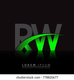 initial letter RW logotype company name colored green and black swoosh design. vector logo for business and company identity.