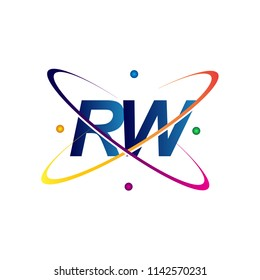 initial letter RW logotype science icon colored blue, red, green and yellow swoosh design. vector logo for business and company identity.