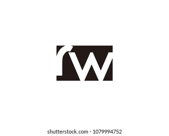 Initial letter rw lowercase logo black and white