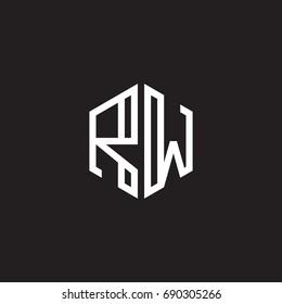 Initial letter RW, minimalist line art monogram hexagon shape logo, white color on black background