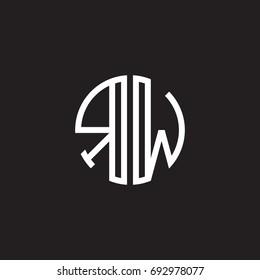 Initial letter RW, minimalist line art monogram circle shape logo, white color on black background