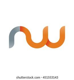 initial letter rw modern linked circle round lowercase logo orange gray