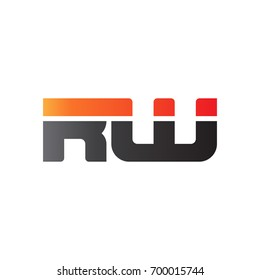 Initial letter RW, straight linked line bold logo, gradient fire red black colors