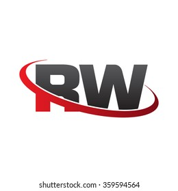 initial letter RW swoosh ring company logo red black