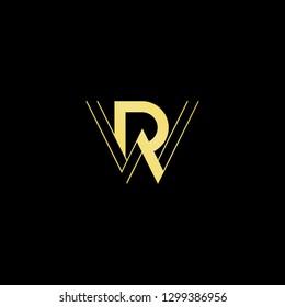Initial letter RW WR minimal monogram art logo, gold color on black background.