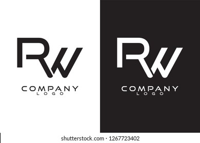 Initial Letter rw/wr Logo Template Vector Design with black and white background