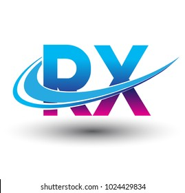 initial letter RX logotype company name colored blue and magenta swoosh design. vector logo for business and company identity.